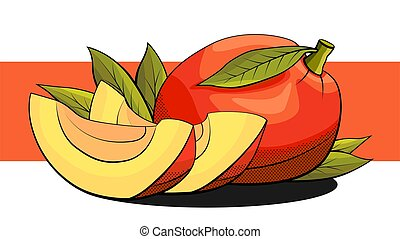 Vector illustration of mango with slices on a red stripe.