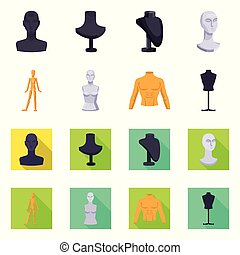 Vector illustration of mannequin and fashion icon. Set of mannequin and atelier stock symbol for web.