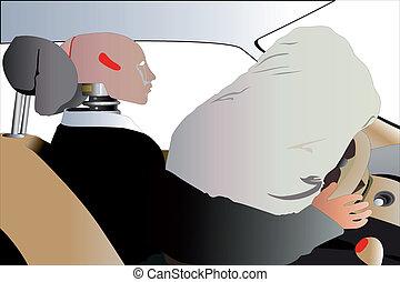 crash-test - Vector illustration of mannequin in a car after...