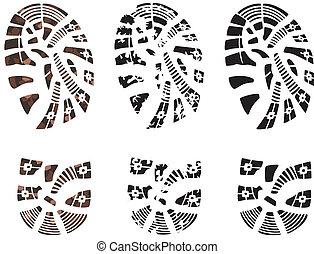 man's grunge foot prints