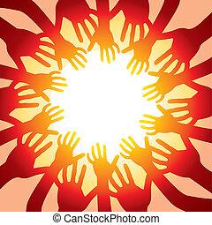 hands around hot sun - vector illustration of many hands ...