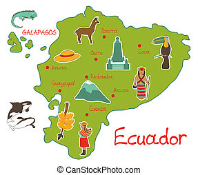 vector illustration of map of ecuador with typical features