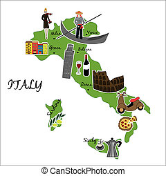 Vector illustration of map of Italy with typical features
