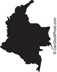 Vector illustration of maps of Colombia