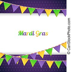 Mardi Gras background with flags - Vector illustration of...