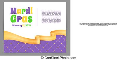 Mardi Gras background with ribbon - Vector illustration of...