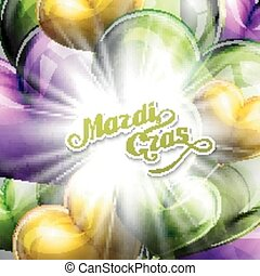 vector illustration of Mardi Gras or Shrove Tuesday lettering label on the flying balloon hearts background with shiny explosion, burst or flash . Holiday poster or placard template