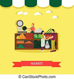 Vector illustration of market greengrocery design element in flat style