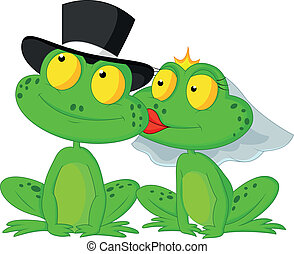 Married frog cartoon kissing - Vector illustration of ...