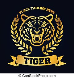 Mascot of gold tiger's head on black background