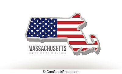 Vector illustration of massachusetts county state with united states flag