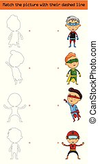 Match the picture (set of character superhero kids)