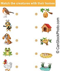 Matching game for children, animals