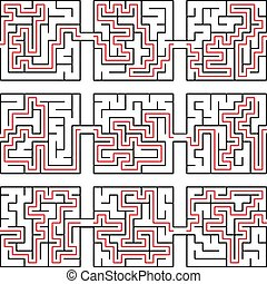 Vector illustration of maze way, solution, puzzle,