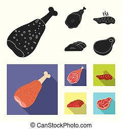 Vector illustration of meat and ham sign. Collection of meat and cooking stock vector illustration.