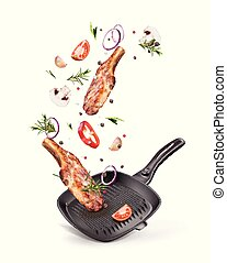 ?????? - Vector illustration of meat steak in a pan with...