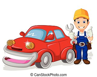 mechanic cartoon with car