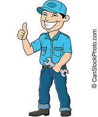 Vector Illustration Of Mechanic Man