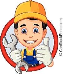 vector illustration of mechanic or handyman cartoon