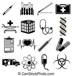 Vector illustration of medical icons on white background. Set