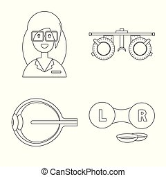 Vector illustration of medicine and technology icon. Set of medicine and eyesight stock symbol for web.