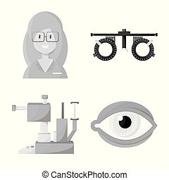 Vector illustration of medicine and technology logo. Collection of medicine and eyesight vector icon for stock.