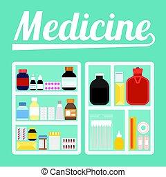 Vector illustration of medicine cupboard