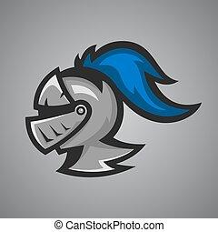 Vector illustration of medieval knight helmet. Sport mascot.