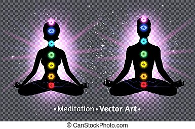 Vector illustration of meditating male and female silhouettes