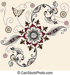 Vector illustration of mehndi ornament. Traditional indian...