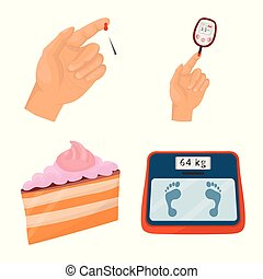 Vector illustration of mellitus and diabetes sign. Collection of mellitus and diet stock symbol for web.
