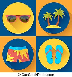 Vector Illustration of Mens articles clothing for the Summer and Beach.