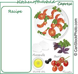 Vector illustration of menu delicious caprese salad with ripe tomatoes and mozzarella cheese with fresh basil leaves. Italian food isolated on white background.