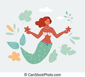 Vector illustration of Mermaid woman.