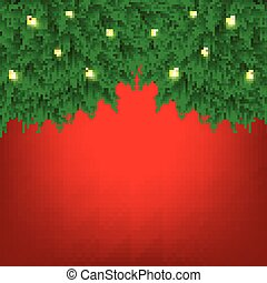 Vector illustration of Merry Christmas and happy new year background with tree branch and christmas light garland.