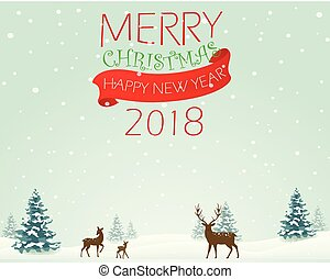 Merry Christmas background with deer