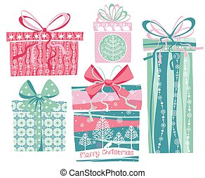Vector illustration of Merry Christmas gifts.