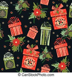 Vector illustration of Merry Christmas gifts. Seamless pattern.