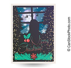 Vector illustration of Merry Christmas greeting card