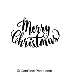 Vector illustration of merry christmas lettering text sign. Hand drawn holiday congratulation greeting template for xmas design. Christmas text decoration isolated on white