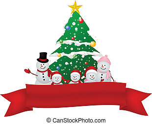 Merry Christmas Snowman family with