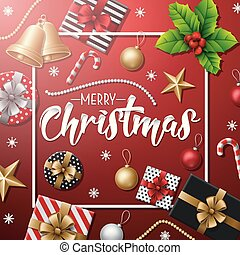 Merry Christmas with Christmas elements on red background