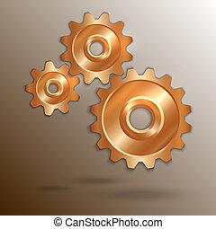 Vector illustration of metallic copper cogwheels - Vector...