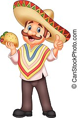 Vector illustration of Mexican man holding taco