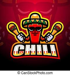 Mexican red chili pepper mascot logo design