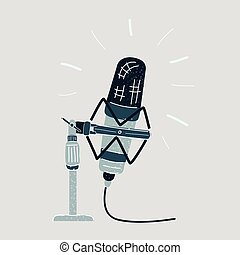 Vector illustration of microphone on a white background