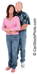 Vector Illustration of Middle Aged Couple Hugging No FAces