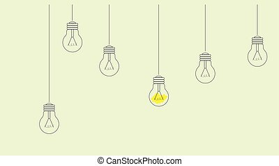 Vector illustration of minimal looking light bulbs hanging from the wall from different height. Conceptual illustration