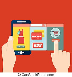 Vector illustration of mobile app for online shopping