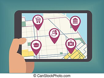 Vector illustration of mobile maps concept with hand holding tablet